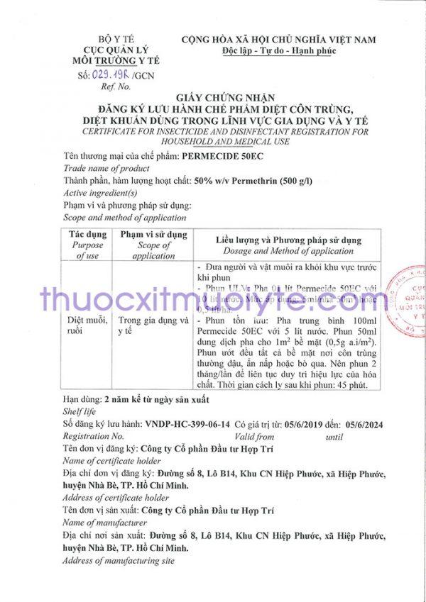 giấy chứng nhận Permecide 50EC